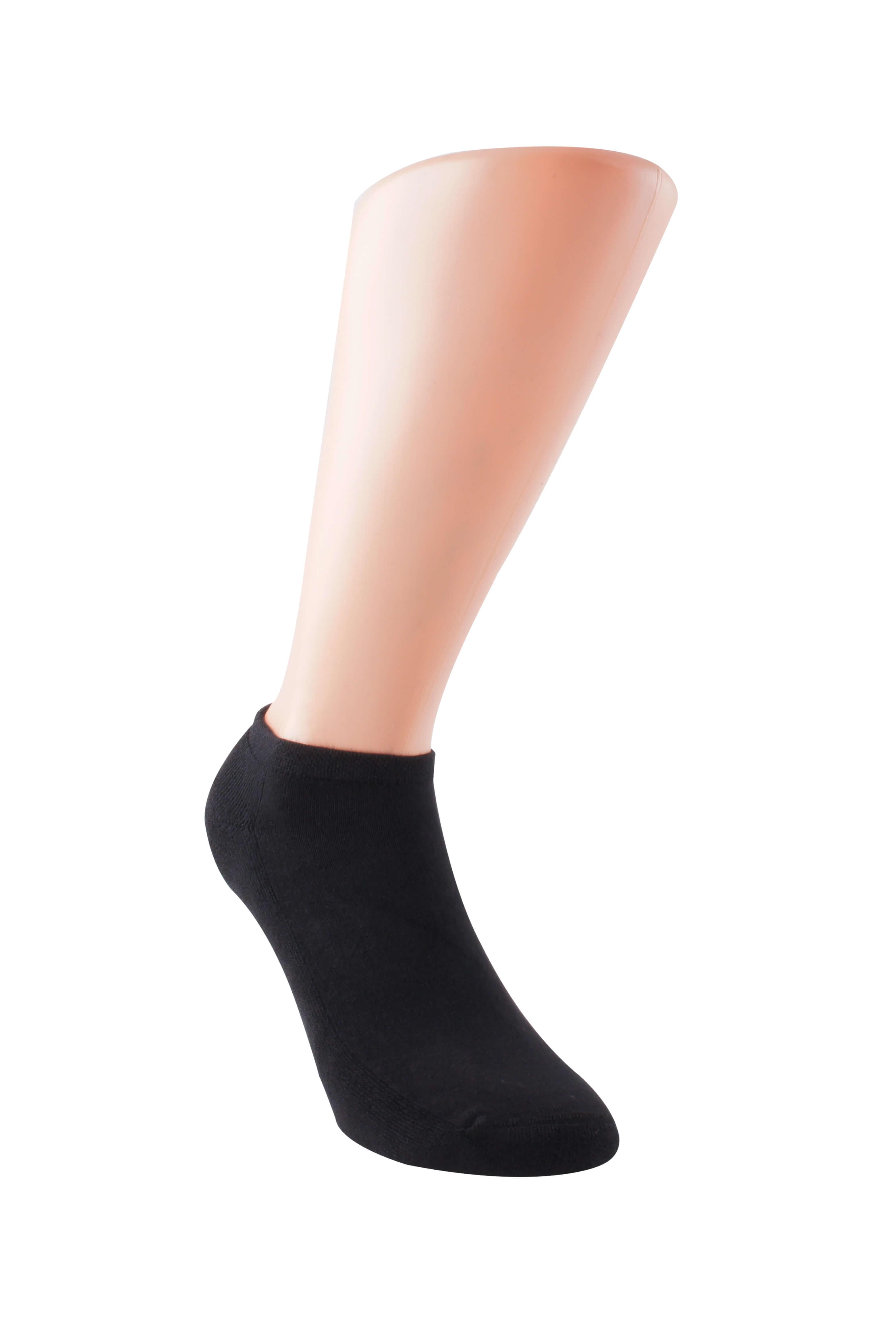 Boru Bamboo Sokken Short Zwart Met Badstof 2-pack