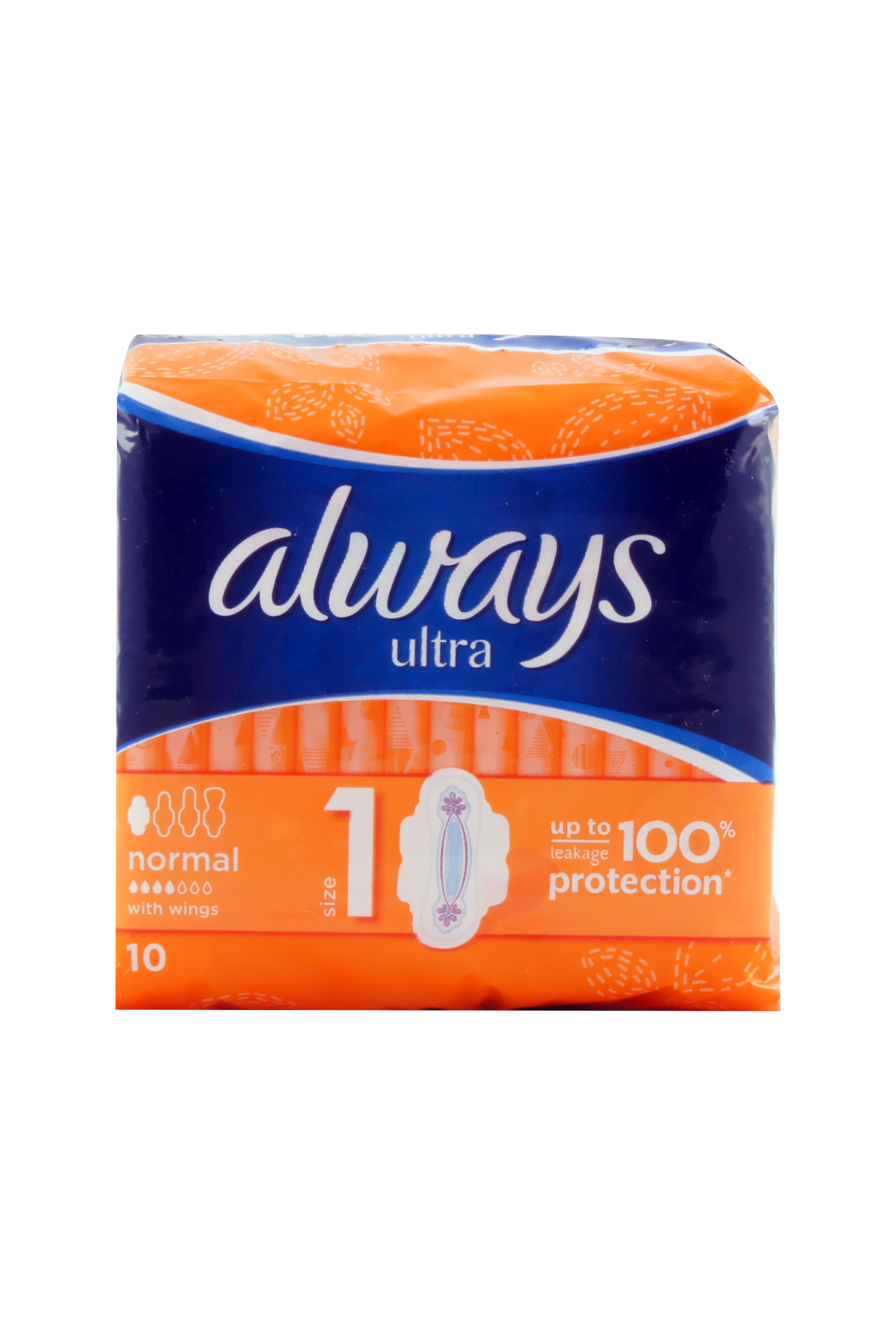Always Maandverband Met Vleugels Ultra Protection Normal, 10 Stuks