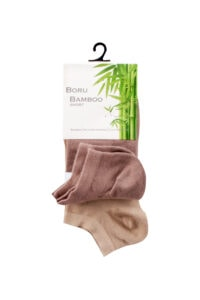 Boru Bamboo Sokken Short Donker Beige 2-pack